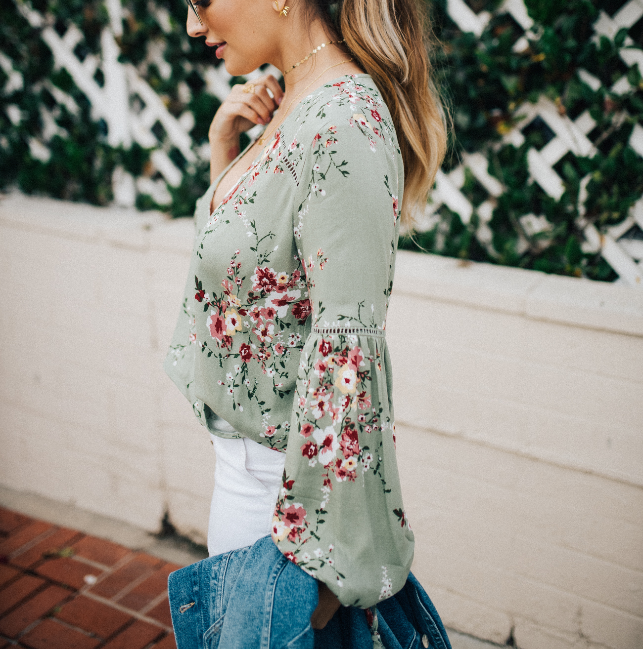 Vici Dolls Green Floral Blouse