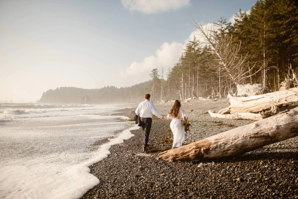 Olympic National Park elopement on the beach.