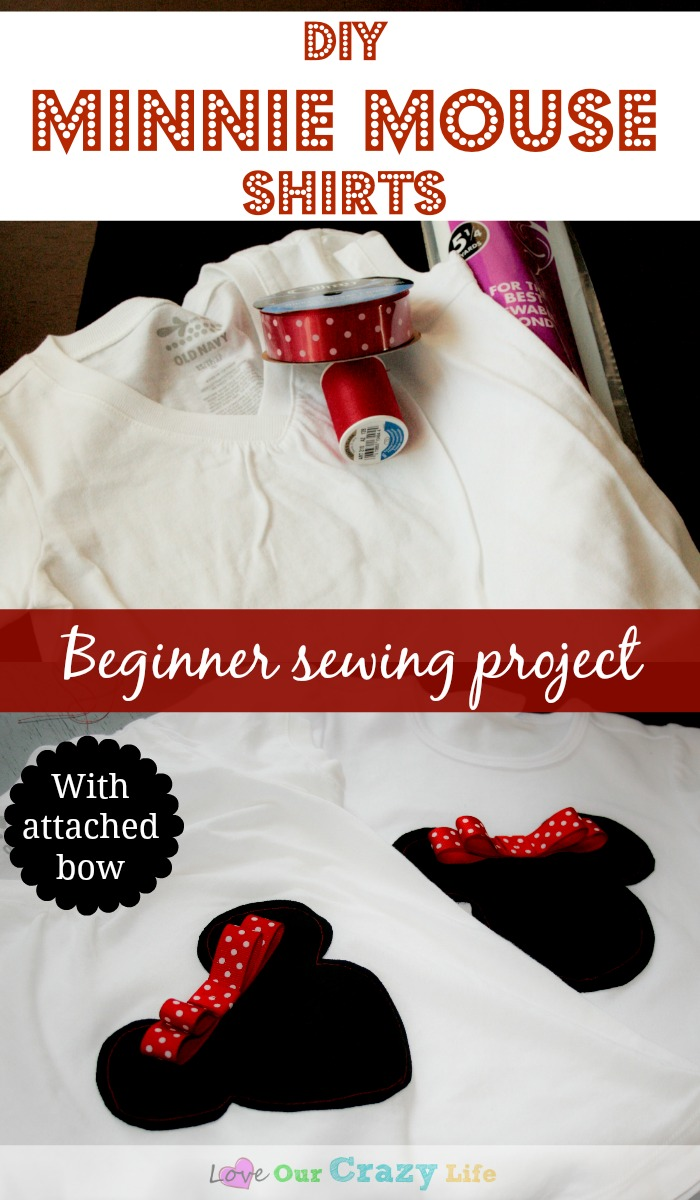 These easy DIY Minnie Mouse shirts with an attached and washable bow are the perfect beginner sewing project.