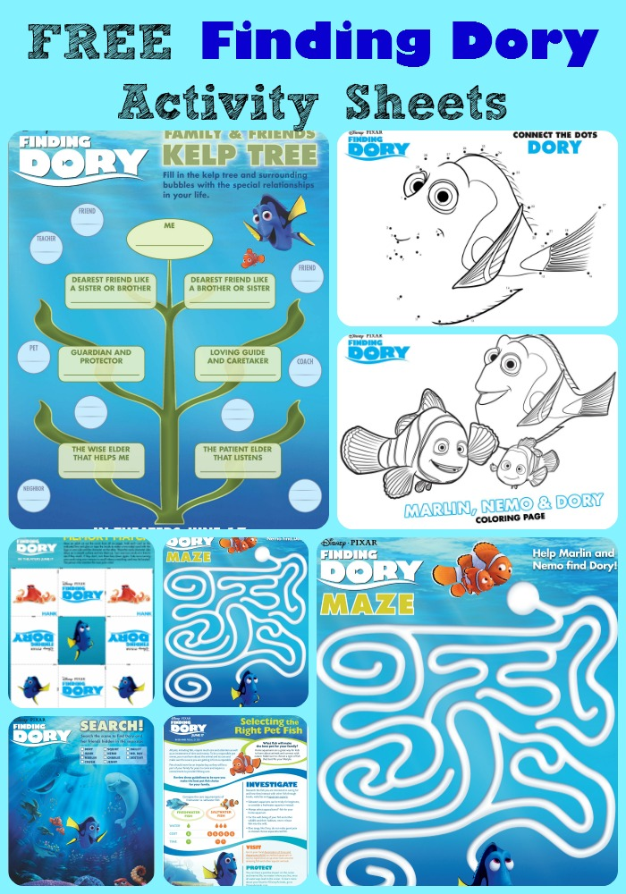 FREE Finding Dory Activity Sheets Amp Study Units This