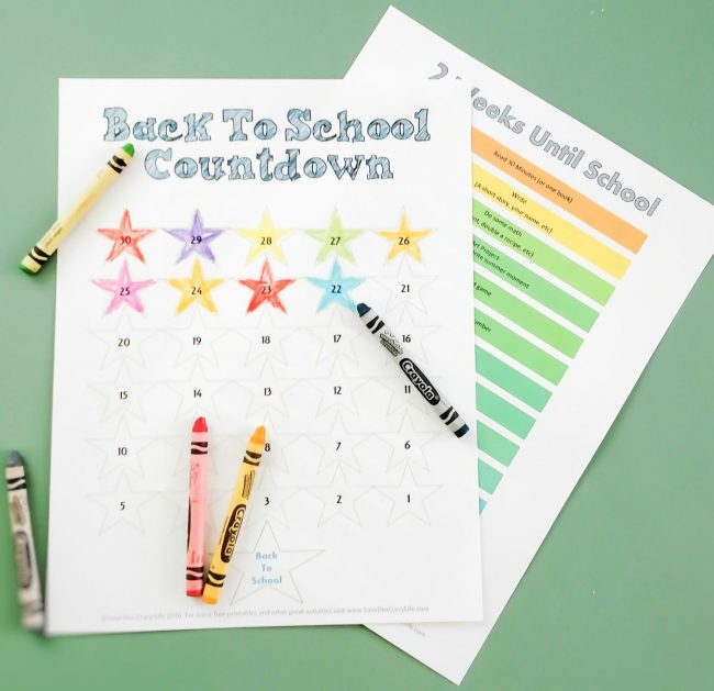 Free Printable 30 day back to school countdown