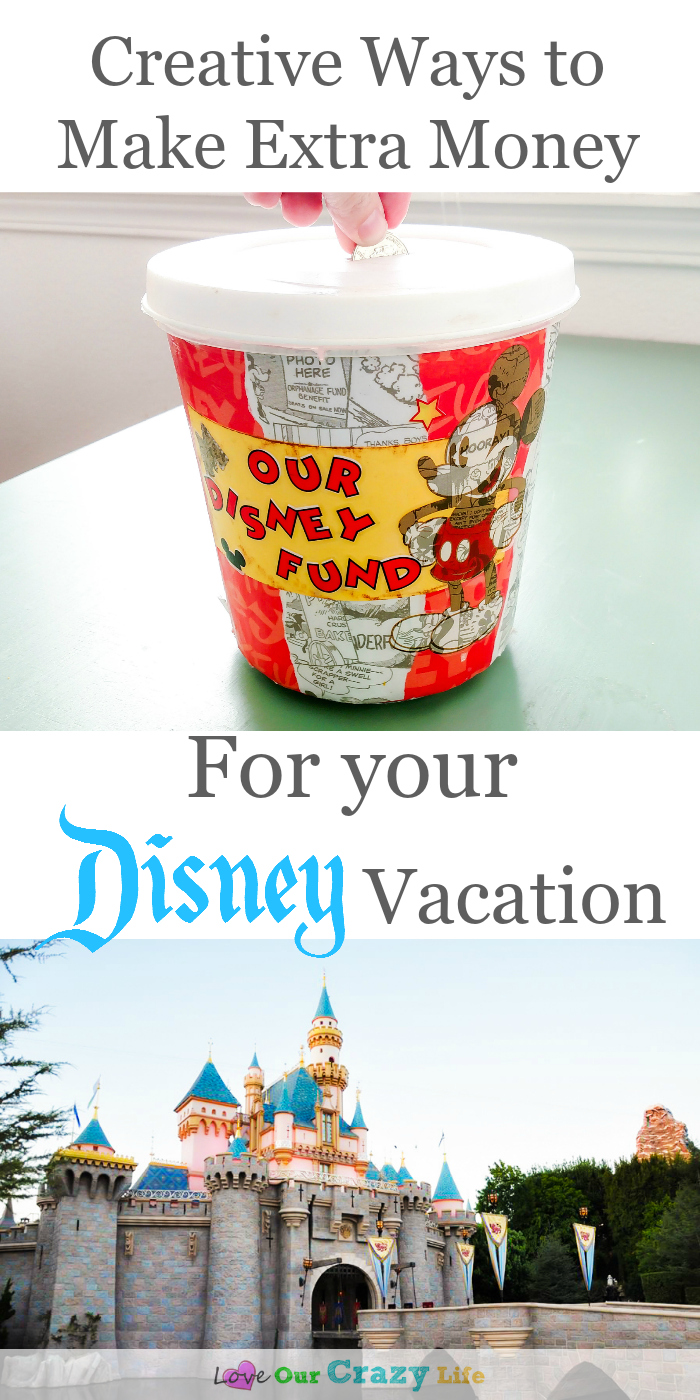 Creative ways to make extra money to help pay for Disney vacations. These are great! I especially like the first one.