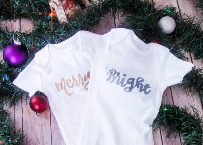 DIY Holiday Onesies – No Vinyl Cutter Needed (Plus Twin Themed Onesie Ideas)