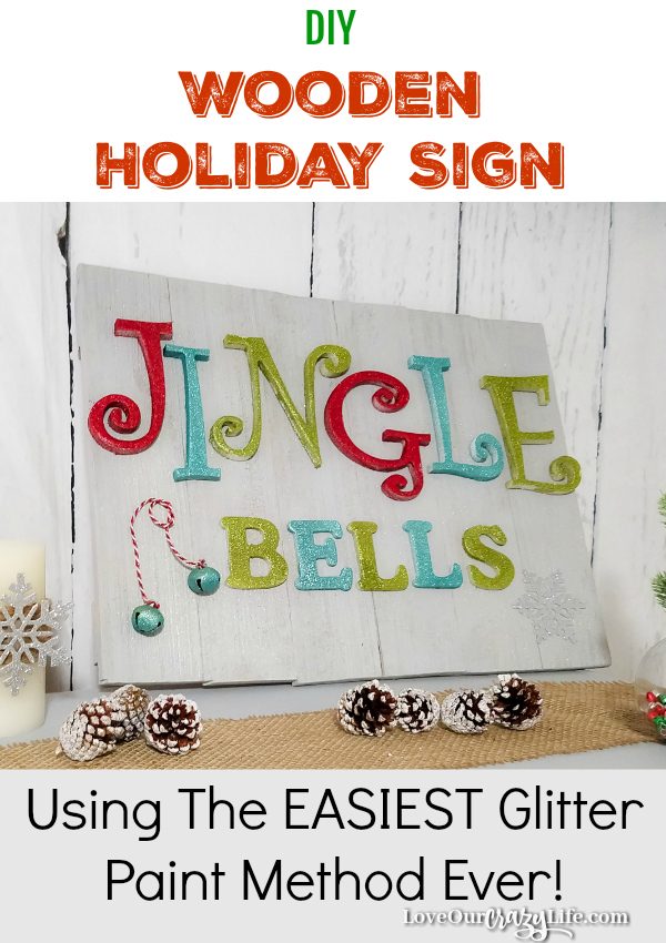 DIY Wooden Holiday sign is super cute and uses the easiest method to apply glitter paint EVER! You can make this easily in one afternoon. Wood gives it a semi rustic feel. #DIY #Crafts #Christmas #Woodensigns