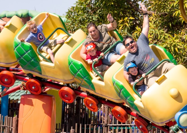Family on Gadget Go Coaster at Disneyland