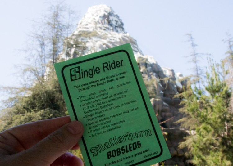 Single Rider Pass in Disneyland