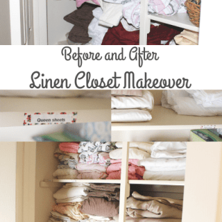 Before and After Linen Closet Makeover