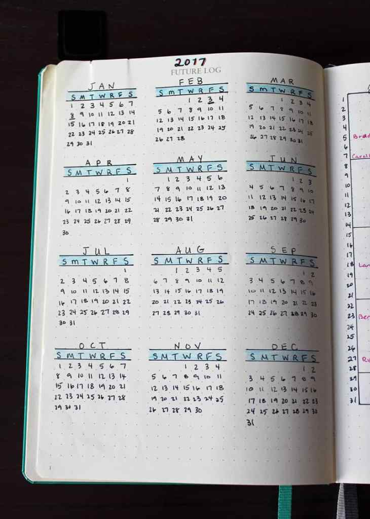 Bullet journal yearly calendar