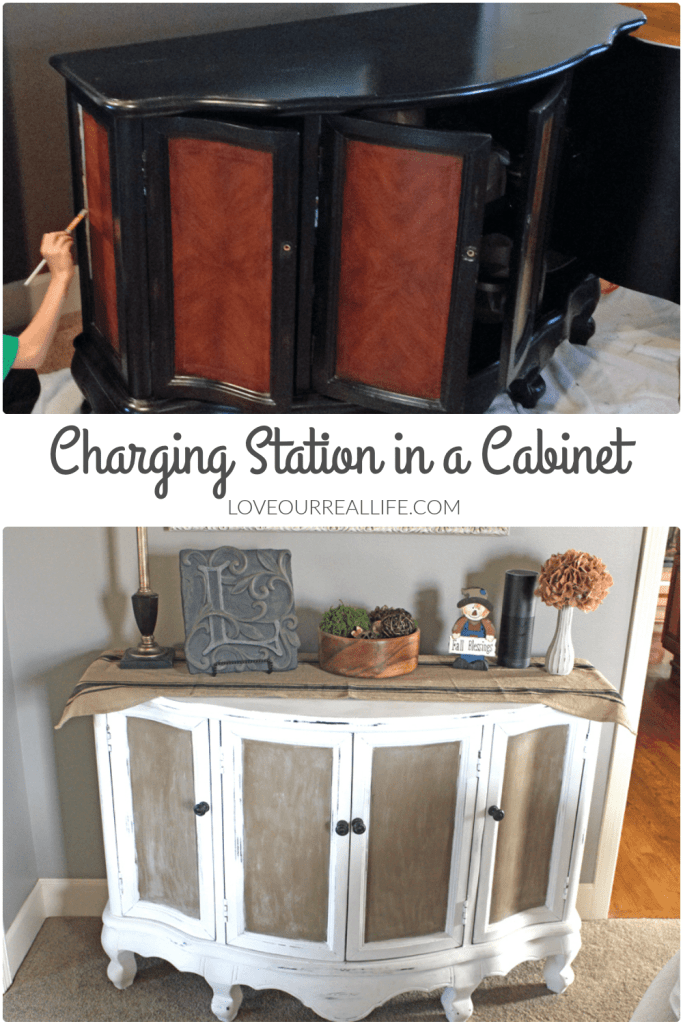 charging station, charging station in cabinet, electronic devices storage, chalk paint table