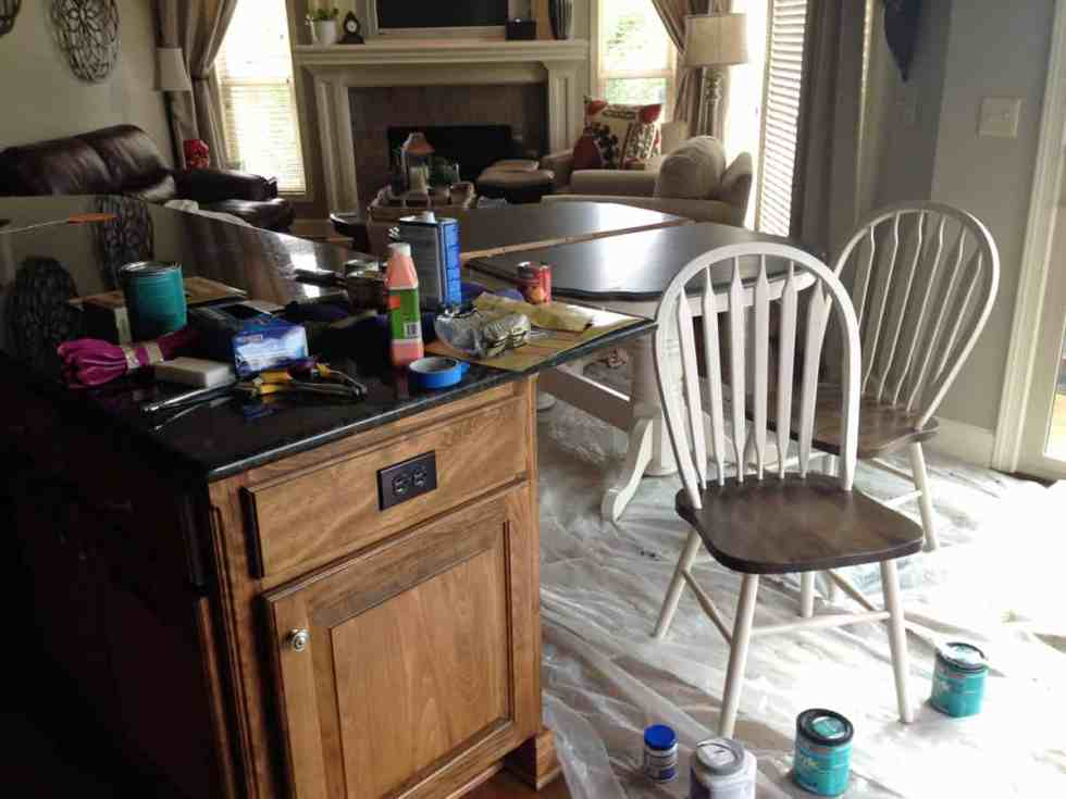 Kitchen table transformation with chalk paint and wood stain