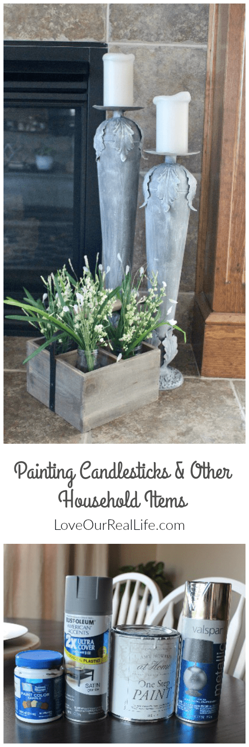 candlestick makeover, painting candles sticks, update candlesticks with chalk paint, spray paint to update candlesticks