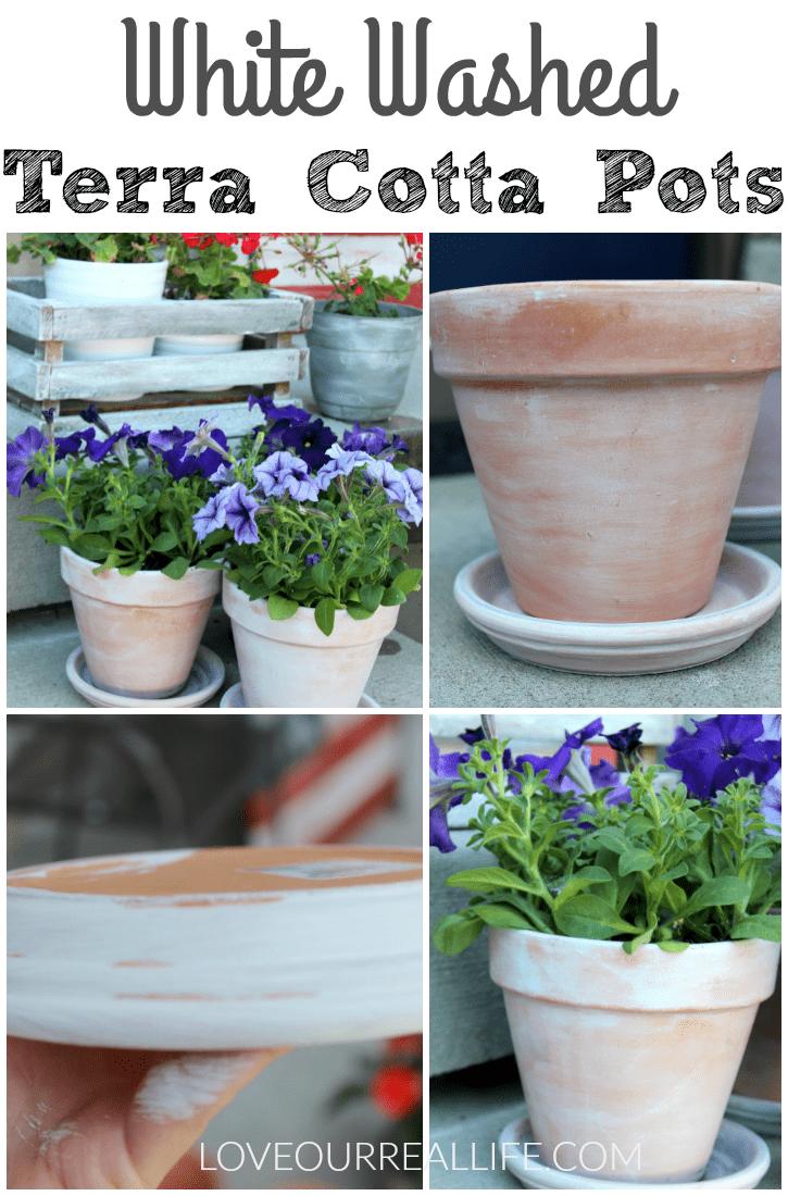 white washed terra cotta pots, painting terra cotta pots, tutorial for white washing, upgrading terra cotta pots
