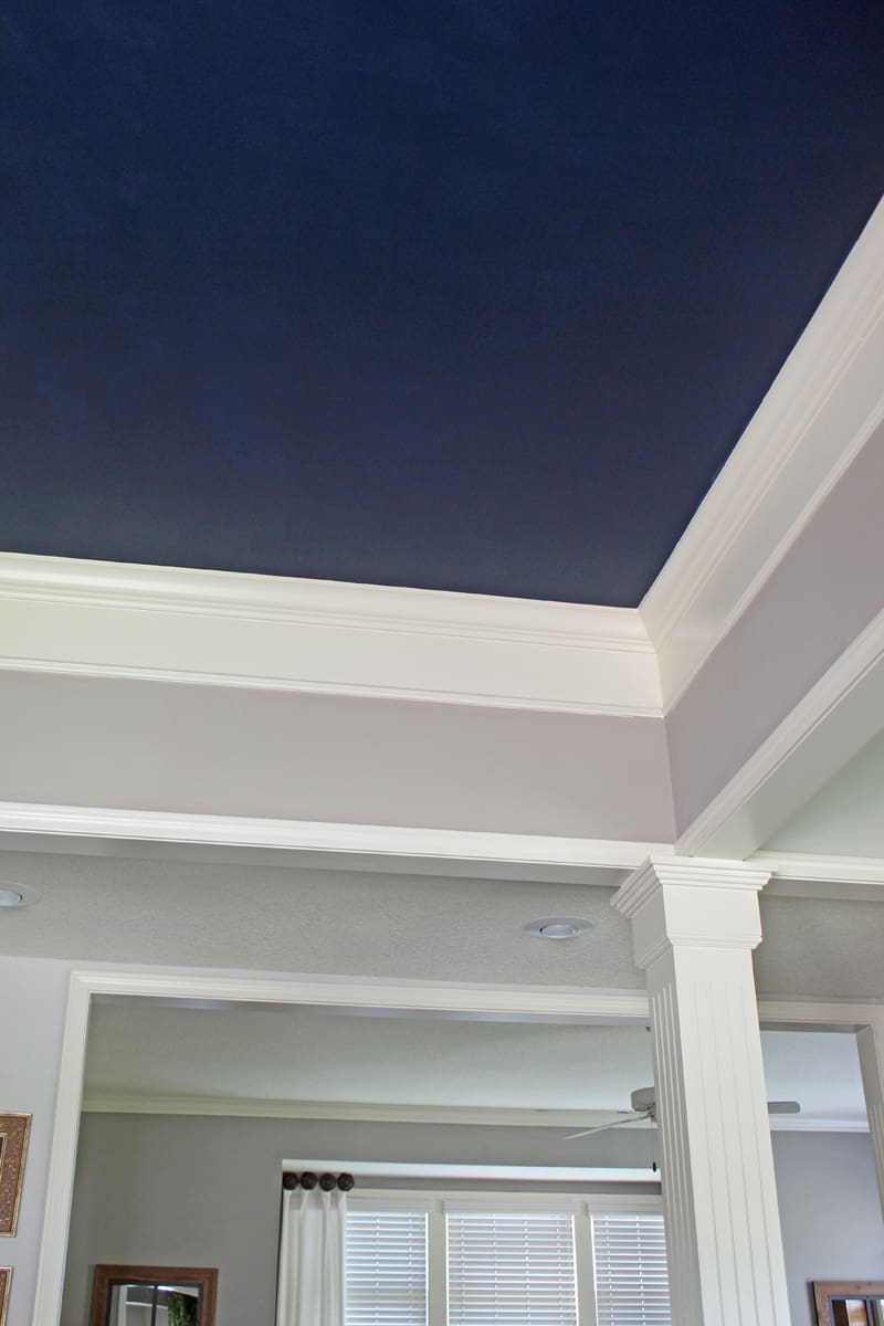 Blue ceiling, painting dining room ceiling, Naval by Sherwin Williams