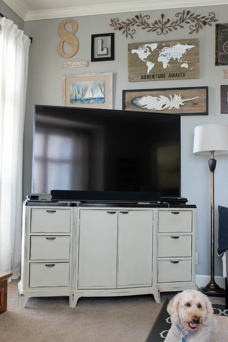 Buffet turned media cabinet media center, painting furniture, before and after furniture makeover