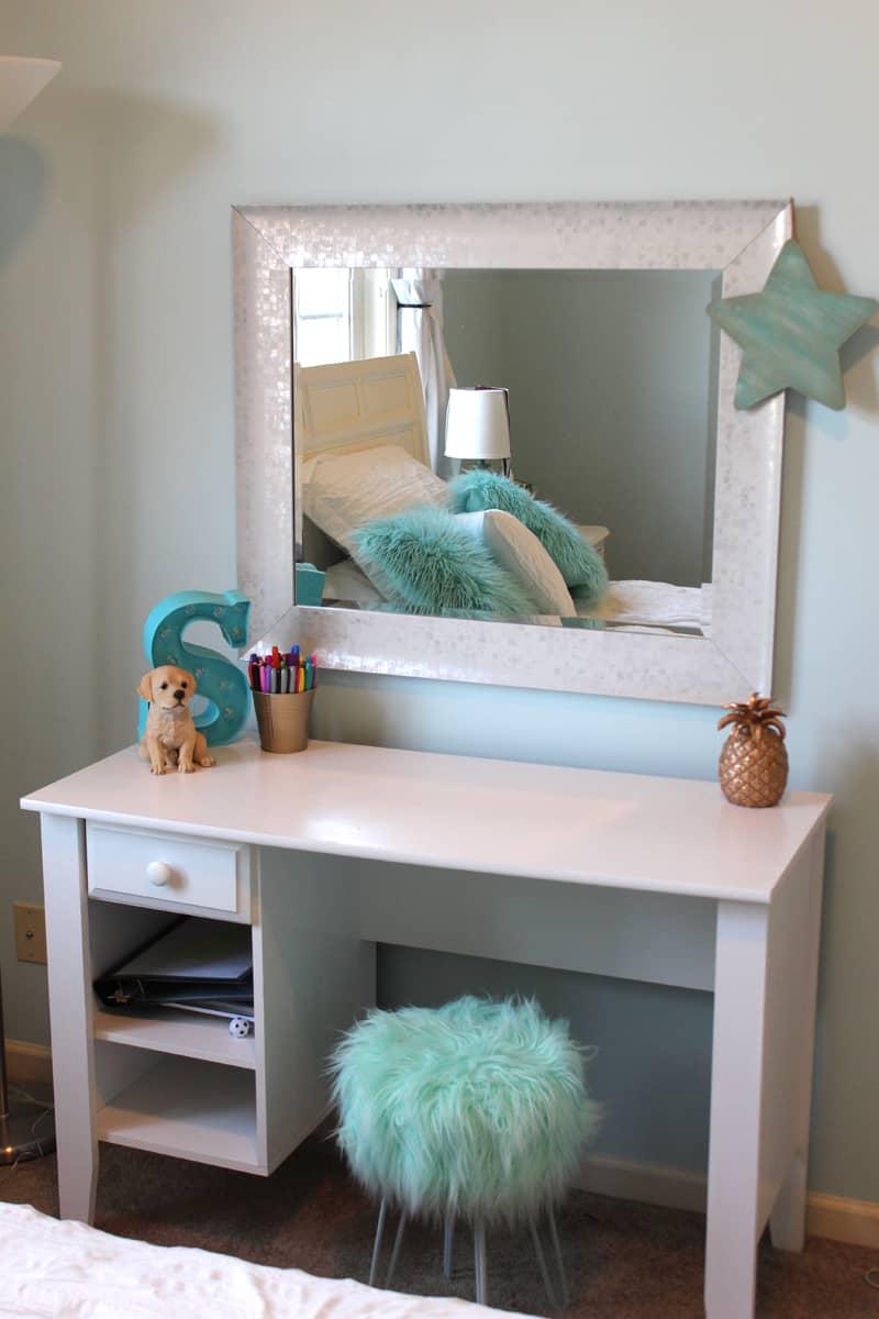 Tween girl's bedroom makeover, white desk, aqua blue stool