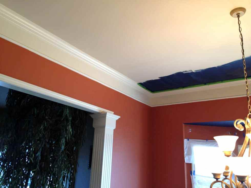 navy blue dining room ceilings, painting dining room ceilings navy blue