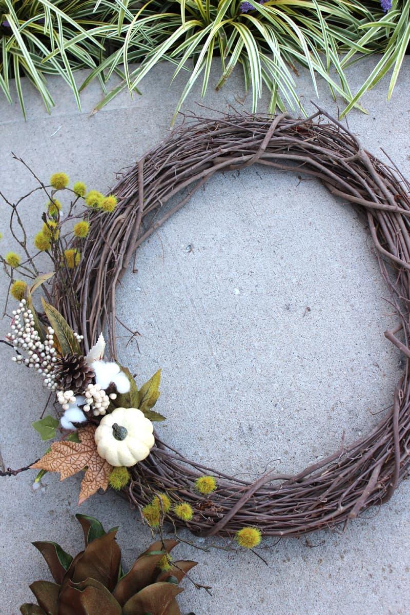 DIY front door wreath, Fall wreath for front door, neutral fall wreath for front door
