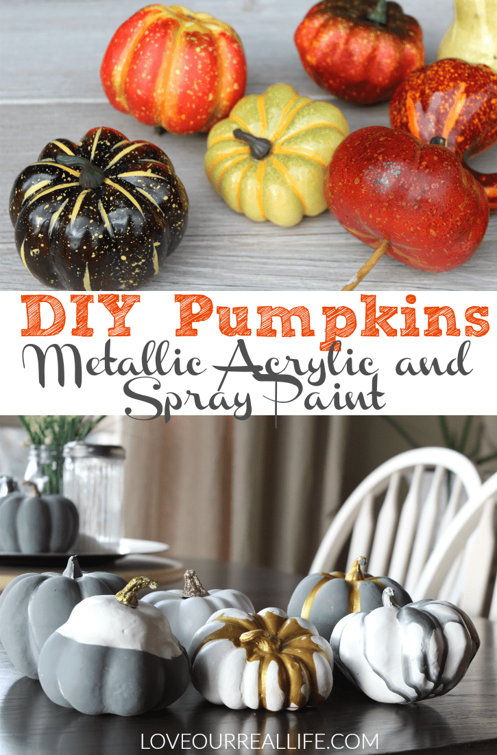 DIY Pumpkins with Metallic acrylic paint and spray paint, fall decor, fall crafts, painting plasic pumpkins, autumn crafts, spray paint crafts, acrylic paint crafts