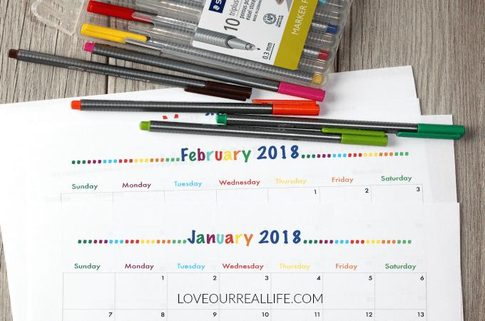 monthly calendars, free printable calendars, 2018 calendars, 2018 printable calendars