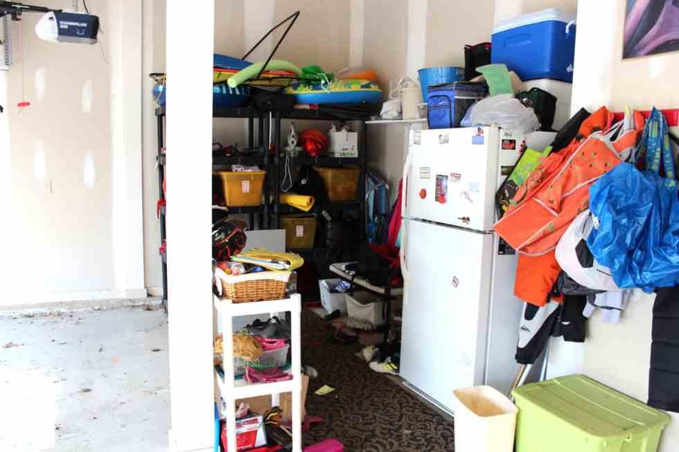 Garage Organization, mudroom in garage, garage cleanup, hooks in garage, refrigerator in garage