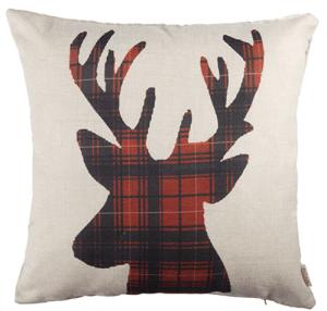 Winter deer pillow, Buffalo check pillow, red and black buffalo plaid