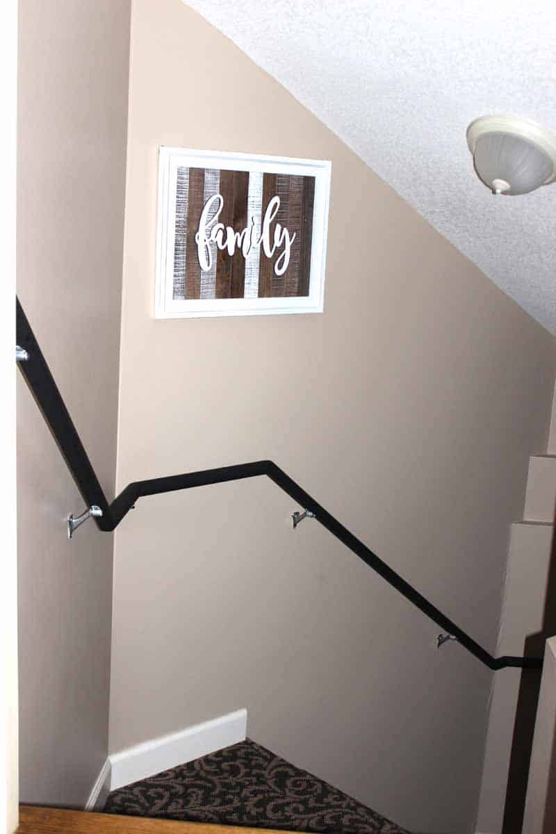 Transforming ugly stair railing with black chalk paint
