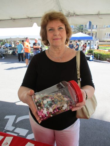 Susan with jar of beads