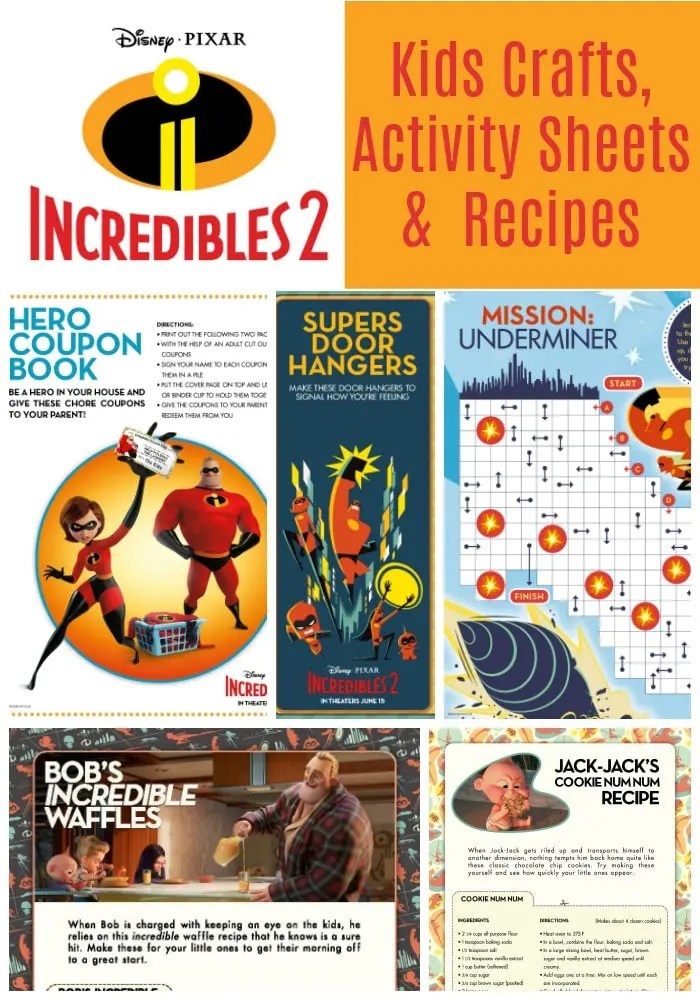 Free Printable Incredibles 2 Crafts Activity Sheets And