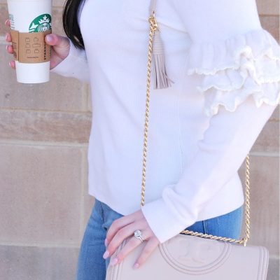 Ruffle Sleeves + Ripped Jeans
