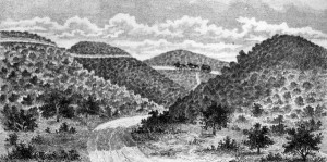 An early drawing of the Cahuenga Pass. Courtesy of the Photo Collection - Los Angeles Public Library.