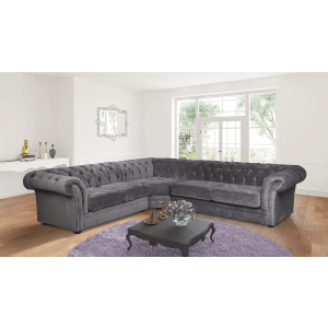 chesterfield sofa material sleeper sofas made in usa buy with 0 interest credit chenille fabric dark grey corner 2c3 nelson