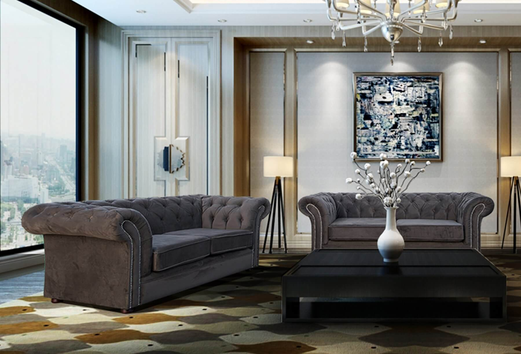 velvet chesterfield sofa suite french connection coast review grey 3 43 2 seater nelson set