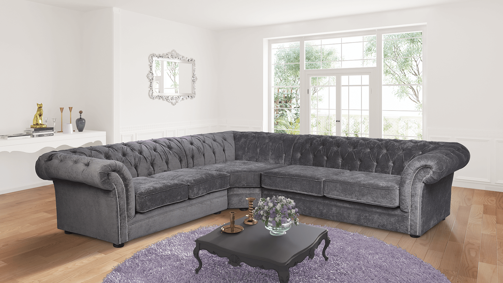gray corner sofa uk leather wooden frame charcoal grey fabric 2c3 chesterfield nelson