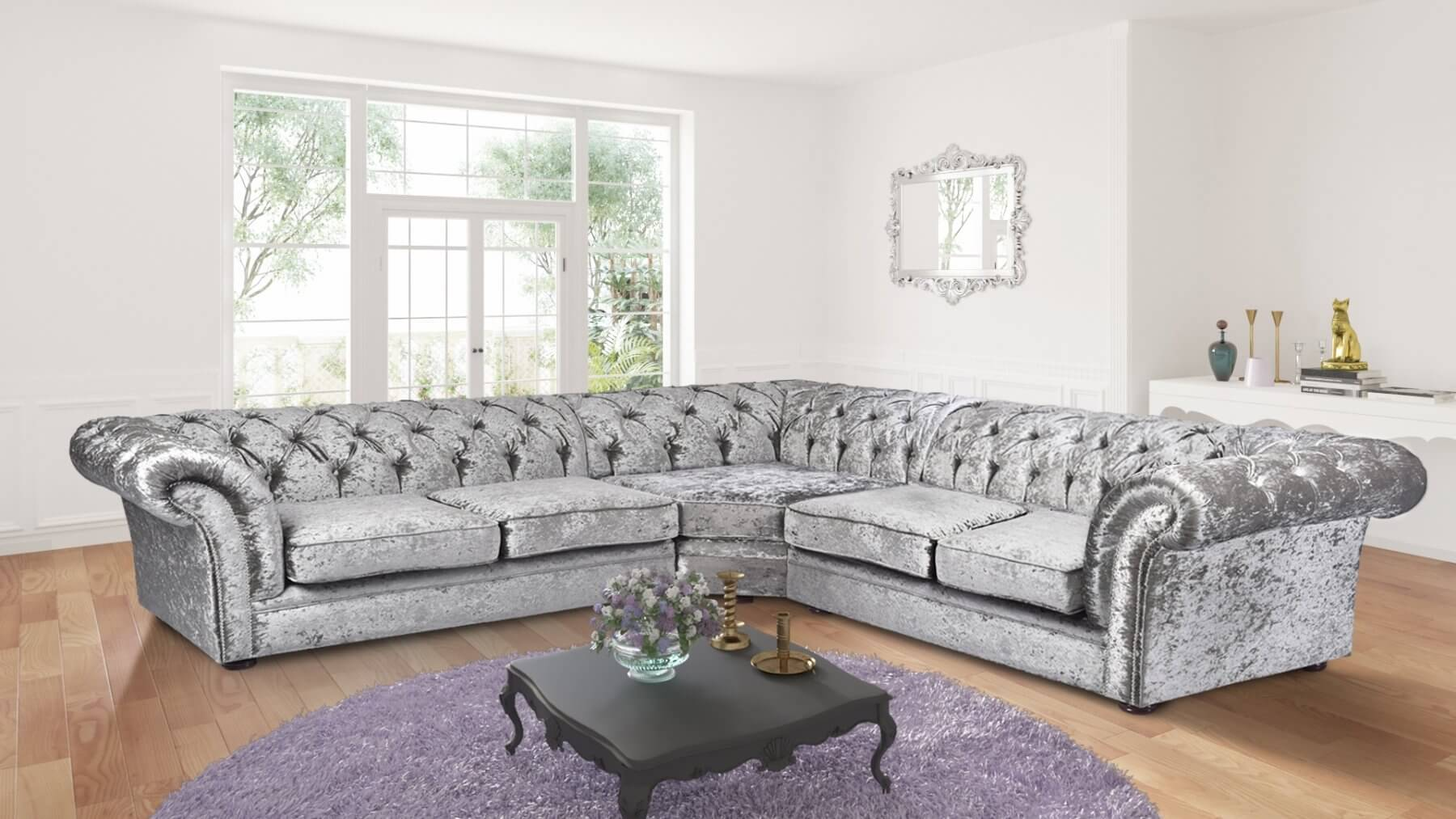 chesterfield corner sofa velvet brown leather sets silver crushed 2c2 nelson