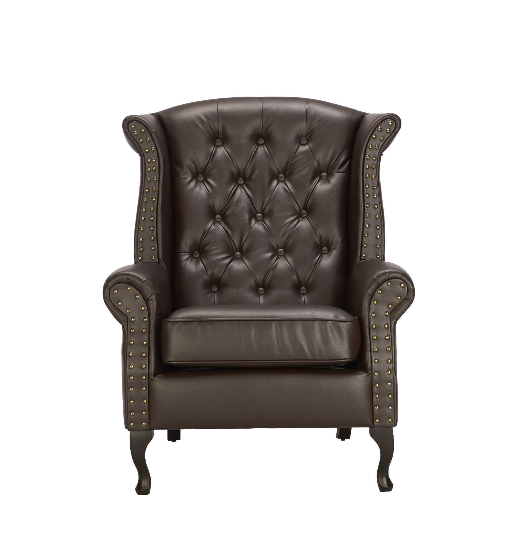 Brown Leather Chesterfield Wing Back Chair