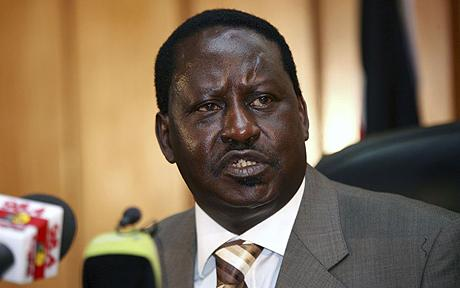 Kenya's Prime Minister Raila Odinga addresses media in Nairobi...Kenya's Prime Minister Raila Odinga addresses the media in Nairobi April 1, 2009. REUTERS/Thomas Mukoya (KENYA POLITICS HEADSHOT)