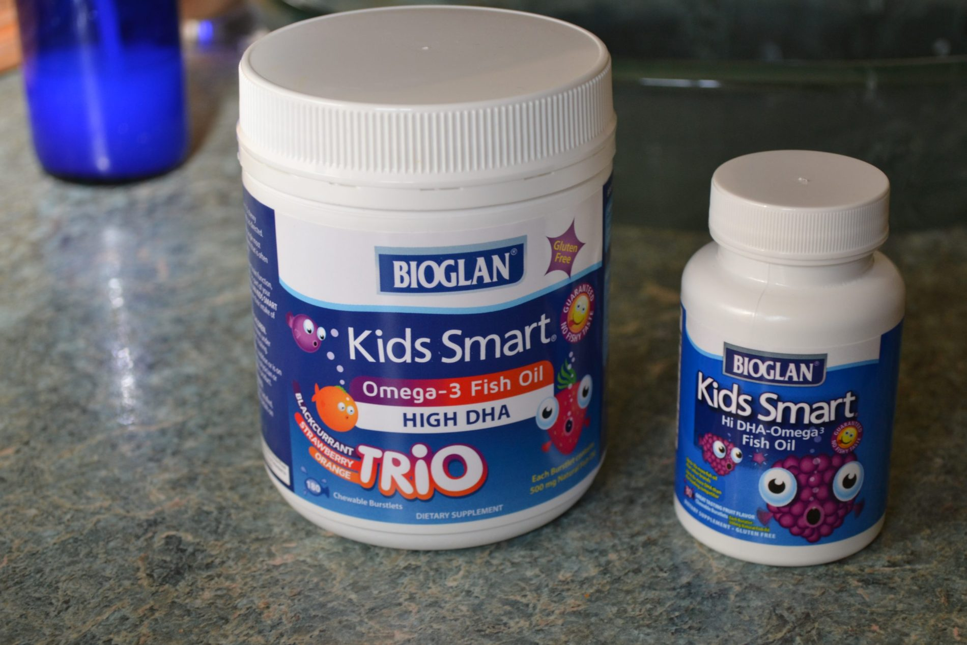 Taking care of your child's health with Kids Smart High DHA Fish Oil Chewable Burstlets.