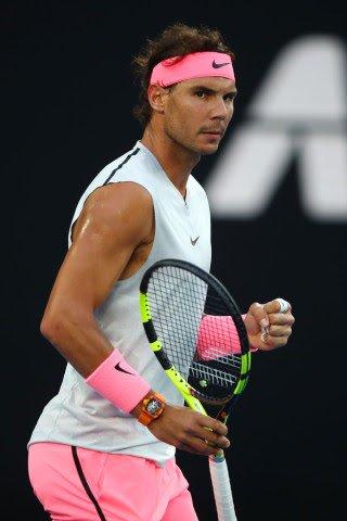 rafa-nadal-2018-australian-open-nike-outfit-sleeveless-top-pink -shorts-shoes-bandana a9e2008f960