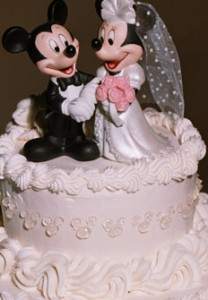 Our wedding cake with Mickey & Minnie topper