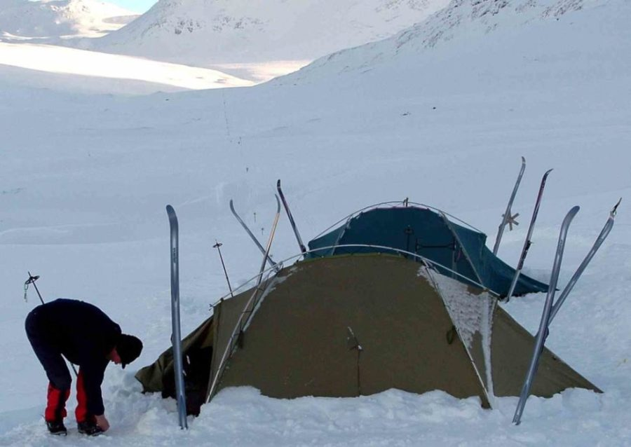 winter camping, setting up your winter campsite, winter campsite