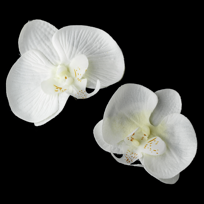 Natural Looking Twin Orchid Bridal Flower Hair Clips Set