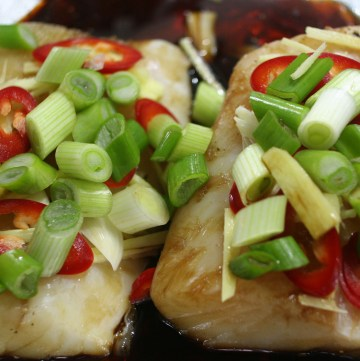 Cod Loin in Ginger and Spring Onion