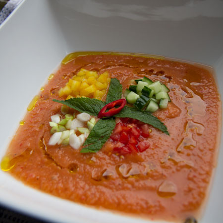 Gazpacho soup with garlic and rosemary ciabatta