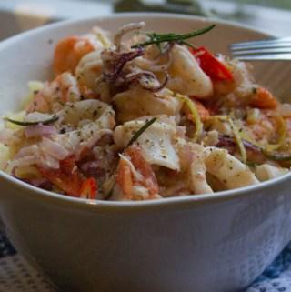 Prawn, Squid, and Chilli Fusilli