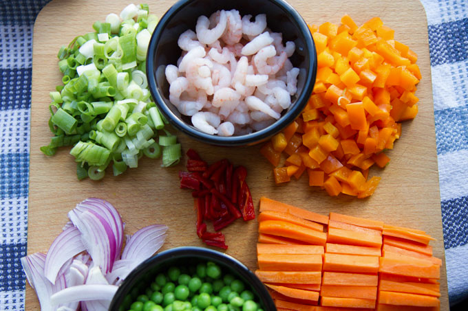 Chicken and Prawn Egg Fried Rice Ingredients