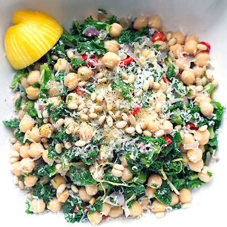 Warm chickpea, curly kale and pine nut salad