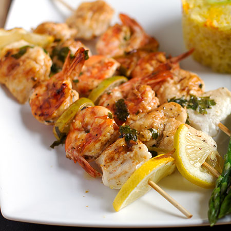Zesty Monk fish and Tiger Prawn Skewers