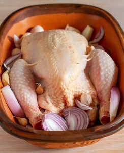 Chicken with onion and garlic added