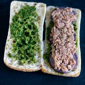 Chimichurri Tuna Melt Panini with tuna added