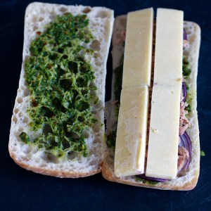 Chimichurri Tuna Melt Panini with cheedar cheese added